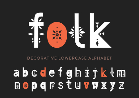 Vector display lowercase alphabet decorated with geometric folk patterns.