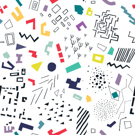 Vector seamless pattern made of colorful flat shapes and black structures.