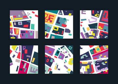Vector set of square abstract backgrounds based on city map. For posters, presentations. Illustration