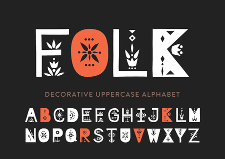 Vector display uppercase alphabet decorated with geometric folk patterns.