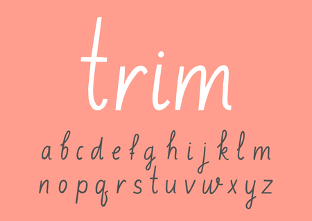 Vector handwritten lowercase alphabet on pink background. 矢量图像