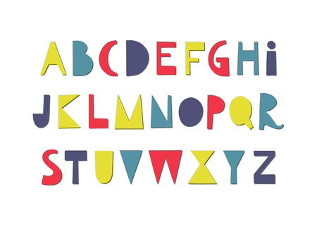 Vector fun papercut colorful uppercase alphabet.