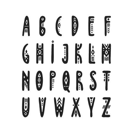 Vector uppercase narrow hand-drawn alphabet in Peruvian style. Illustration