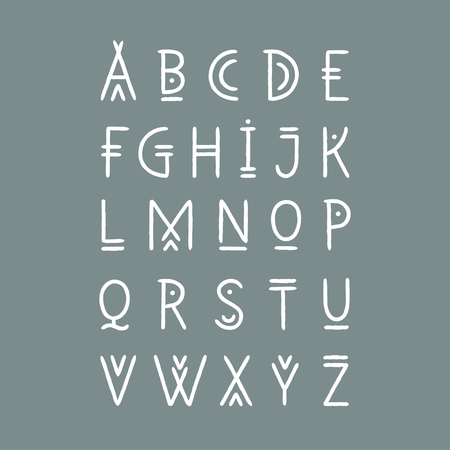 Vector alphabet set. Capital letters in geometric line art style. For hipster theme, trendy posters. Illustration
