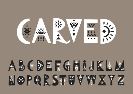 Vector display white uppercase alphabet decorated with black  folk patterns.