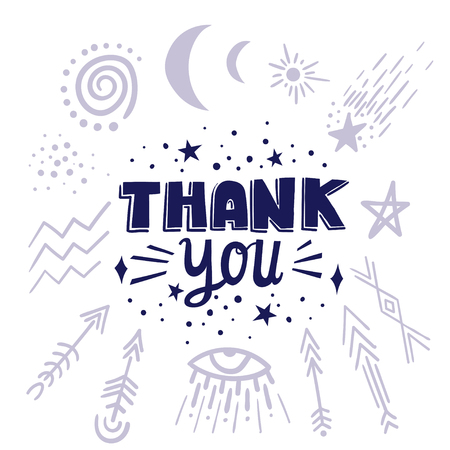 Vector lettering THANK YOU with cosmic symbols.