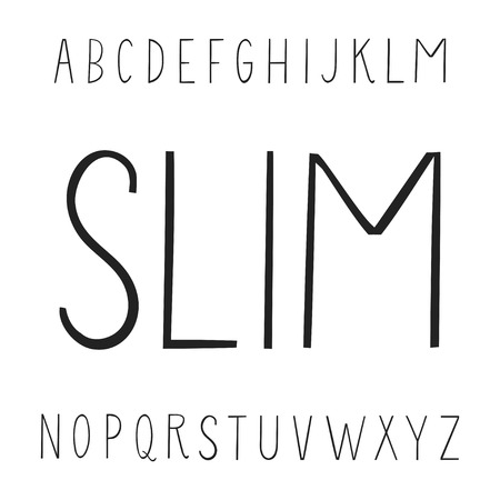 Vector modern thin line uppercase alphabet.