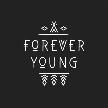 Lettering poster Forever Young in line art geometric style Illustration