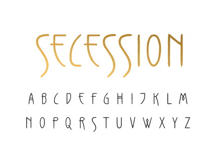 Vector uppercase handwritten alphabet in Art Nouveau style.