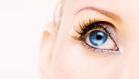 womans: Blue womans eye. Very sharp image
