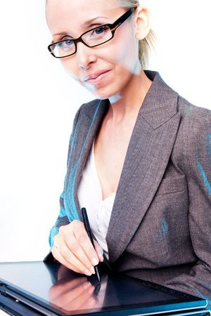 business woman l working on a computer graphics tablet Stock Photo - 4705880