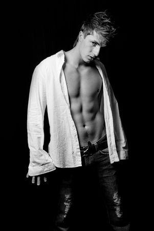 młody człowiek ubrany atractive biała bluzka Zdjęcie Seryjne