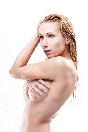 Wet topless girl Stock Photo - 4823965