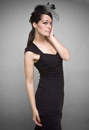 Lovely woman retrowidow  portrait fashion photo