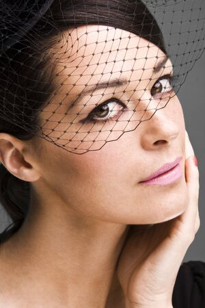 ttractive: Lovely woman retrowidow  portrait closeup