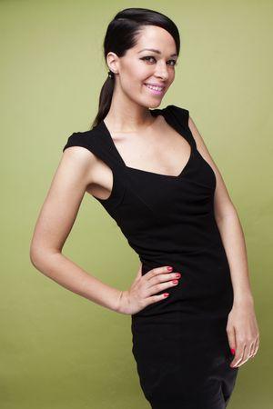 ttractive: sexy fashion brunette woman in black dress