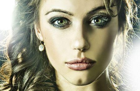 croft: sexy woman Lara Croft headshoot portrait  Stock Photo