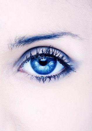 eye sight: human macro beauty eye in blue