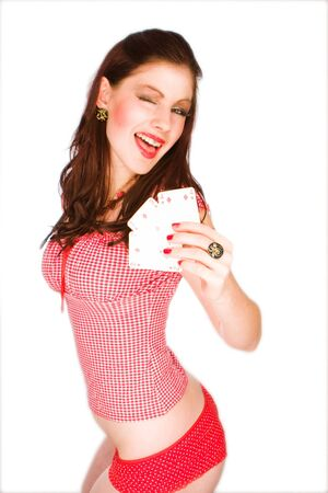 pin stripe: Sexy Pinup Girl with the playing cards