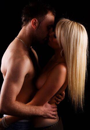sexy blonde girl with heandsome facet kiss Zdjęcie Seryjne