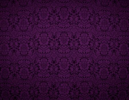gothic revival: Seamless Gothic Damask violet wallpaper background