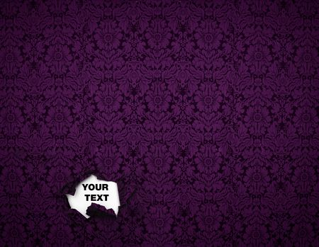 Seamless Gothic Damask violet wallpaper background wth a hole for text Stock Photo - 4944960