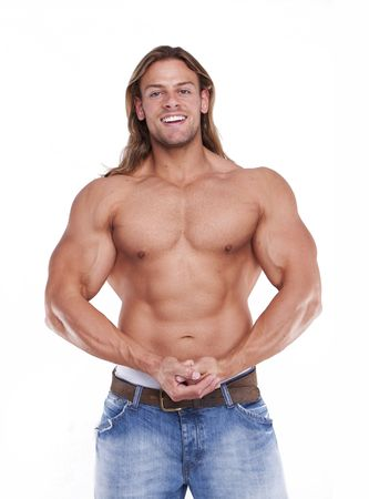 defined: Athletic sexy male body builder with the blond long hair. gladiator