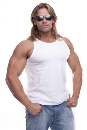 1 man only: Athletic sexy male body builder with the blond long hair. gladiator
