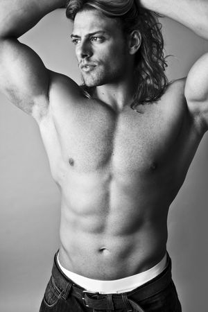 black and white male model topless sexy torso photo
