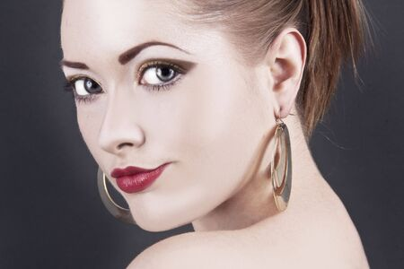 Attractive young fashion model with red lips Stock Photo - 5093700