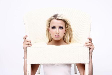 glamourus blonde model headshoot on isolated white background photo