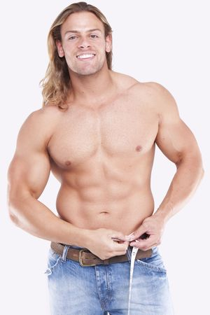 half body: Athletic sexy male body builder with the blonde long hair. gladiator