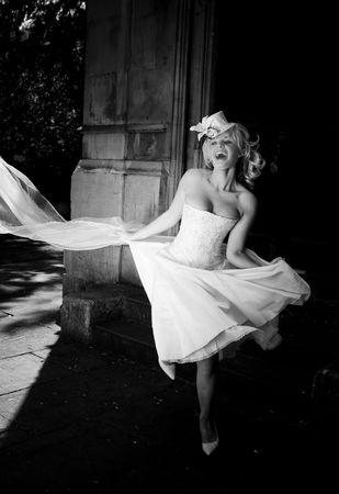 czarno-białe blondynka szczęśliwa oblubienica Zdjęcie Seryjne