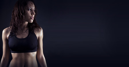 nipples: Toned female fitness body Stock Photo