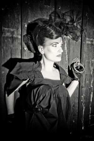 ttractive: Lovely woman retro widow portrait black and white