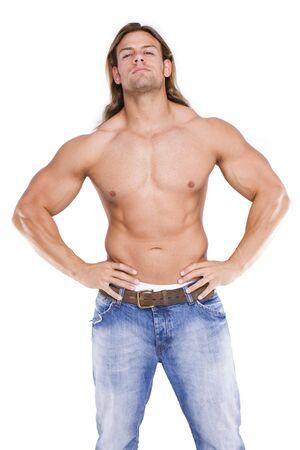 expresion corporal: Athletic sexy cuerpo masculino constructor de la rubia con el pelo largo. gladiador