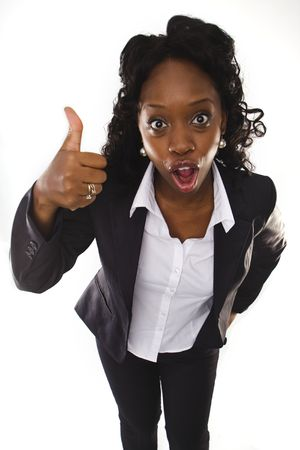 A pretty african american business woman with thumbs up Stock Photo - 5292523