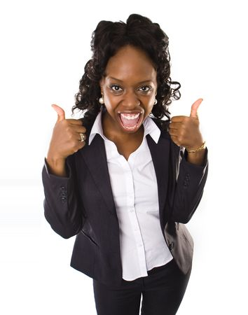 A pretty african american business woman with thumbs up Stock Photo - 5292525