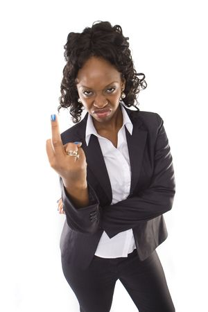 beautiful angry: A pretty african american business woman  showing middle finger