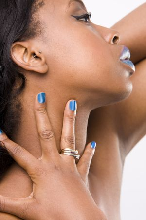 mascara model with hands and nails photo