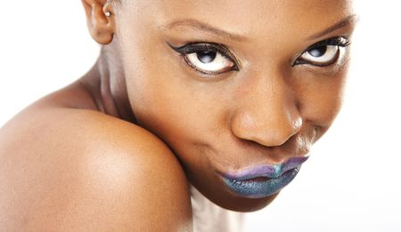 beautiful African woman with beauty violet and blue lips photo
