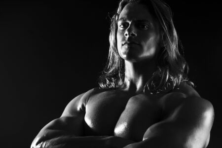 black and white male sexy muscular fitness man Stock Photo - 5442264