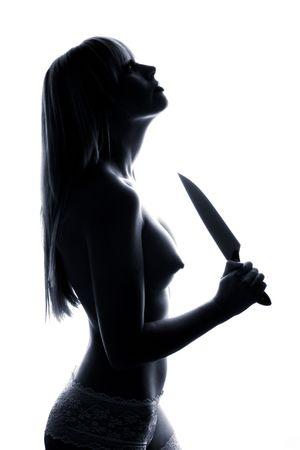 Outlines of nude girl. Black figure. Fashion art photo photo