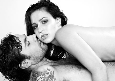 two beautiful lovers in black and white Stock Photo - 6140336