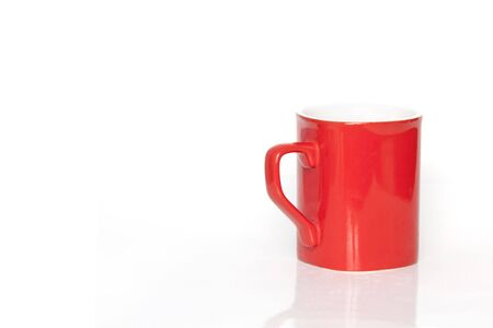 coffeecup:  Isolated red coffee-cup on a white background Stock Photo