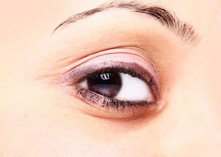 beautiful brown eye and pink makeup photo