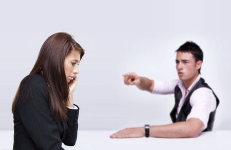 people arguing: business people arguing on white background