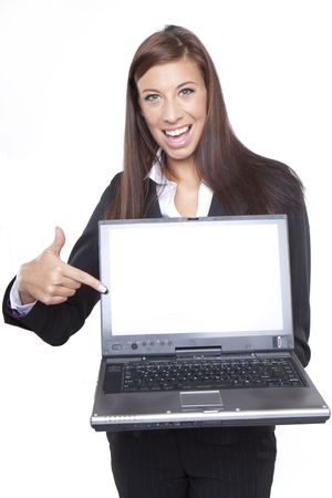 Young business woman showing blank laptop screen ready for your text and promotion, isolated on white background. Stock Photo - 6360024