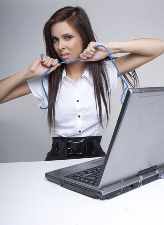 unhappy woman having a network connection problems Stock Photo - 6678997