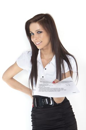 cv: woman looking for a new job, showing her CV,  Stock Photo